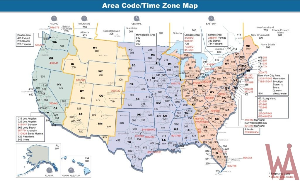 Area codes time zones map of the USA WhatsAnswer