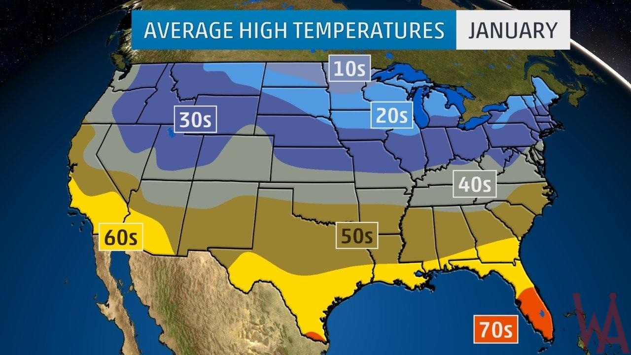 Average High Temperature Map of the US On January