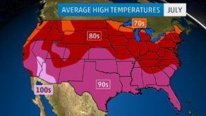 Average High Temperature Map of the US July