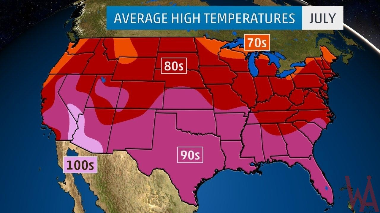 Average High Temperature of the US July