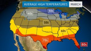Average High Temperature Map of the US In March