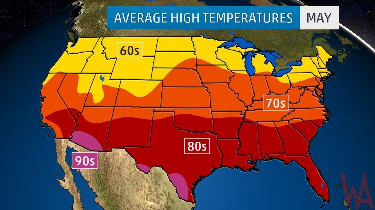 Average High Temperature of the US May