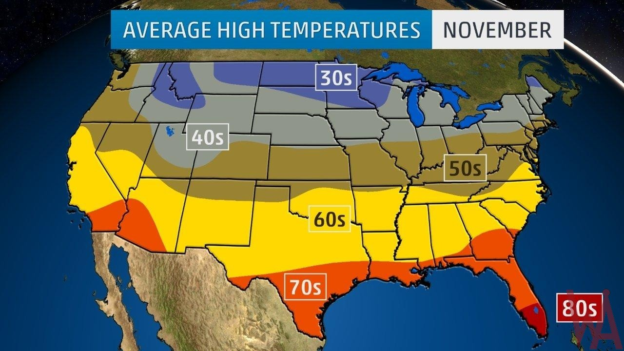Average High Temperature Map of the US In November