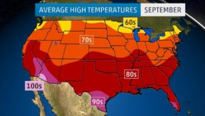 Average High Temperature Map of the US In September