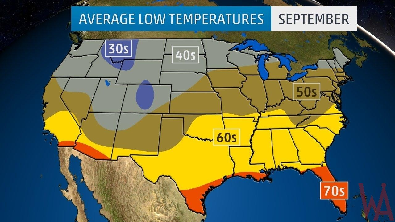 Average Low Temperature Map of the US In September