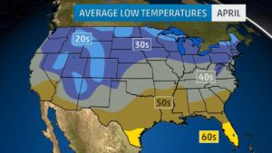 Average Low Temperature Map of the US In April