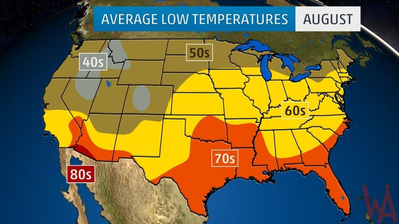 Average Low Temperature of the US August