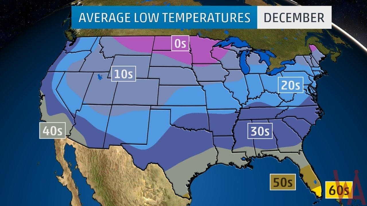 Average Low Temperature Map of the US In December