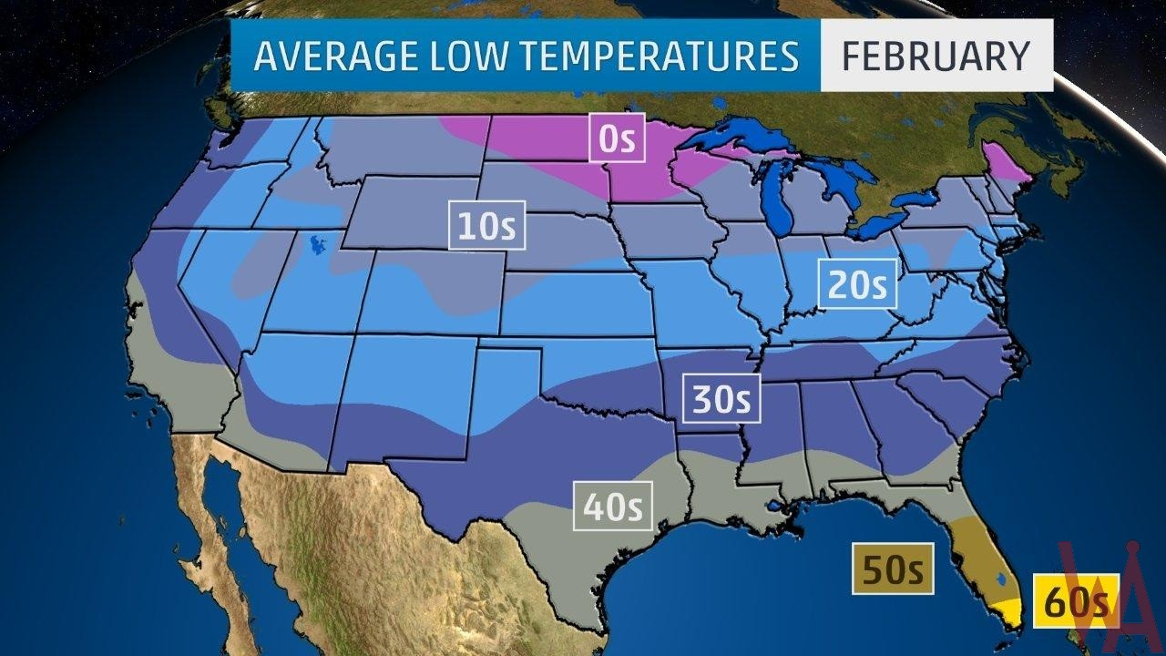 Average Low Temperature Map of the US In February