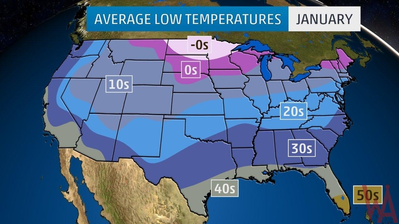 Average Low Temperature of the US January