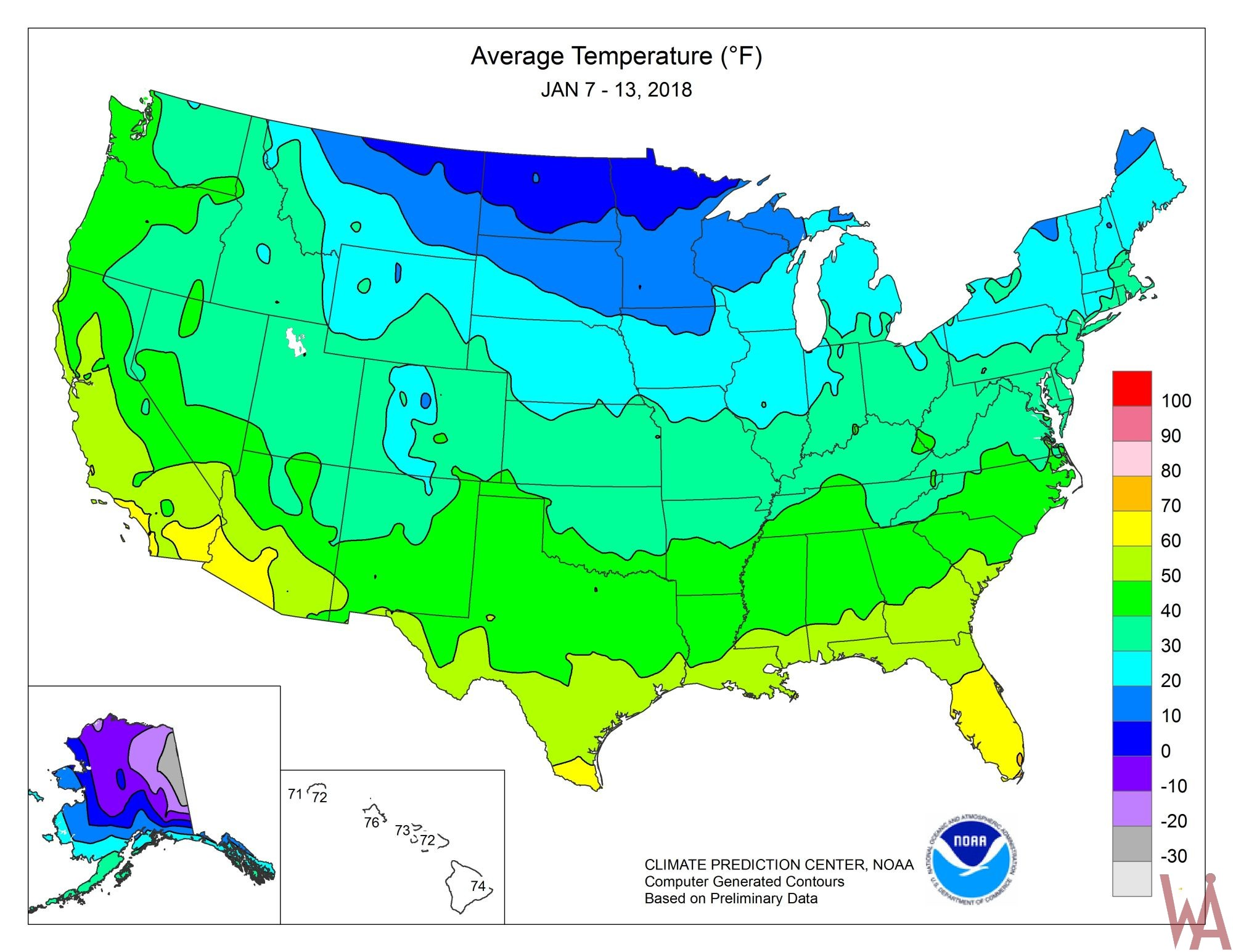 Temperature maps of The USA | WhatsAnswer
