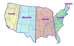 Colorful Time Zone Map of USA