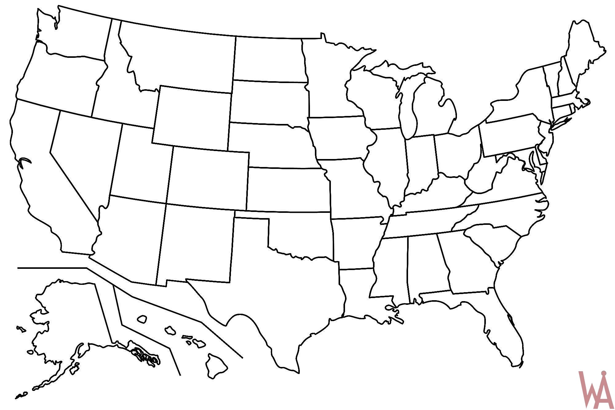 Outline Maps Of The USA | WhatsAnswer