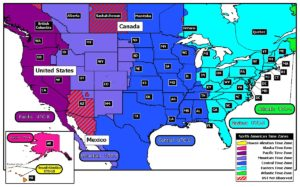 Colourful time zone Map of USA