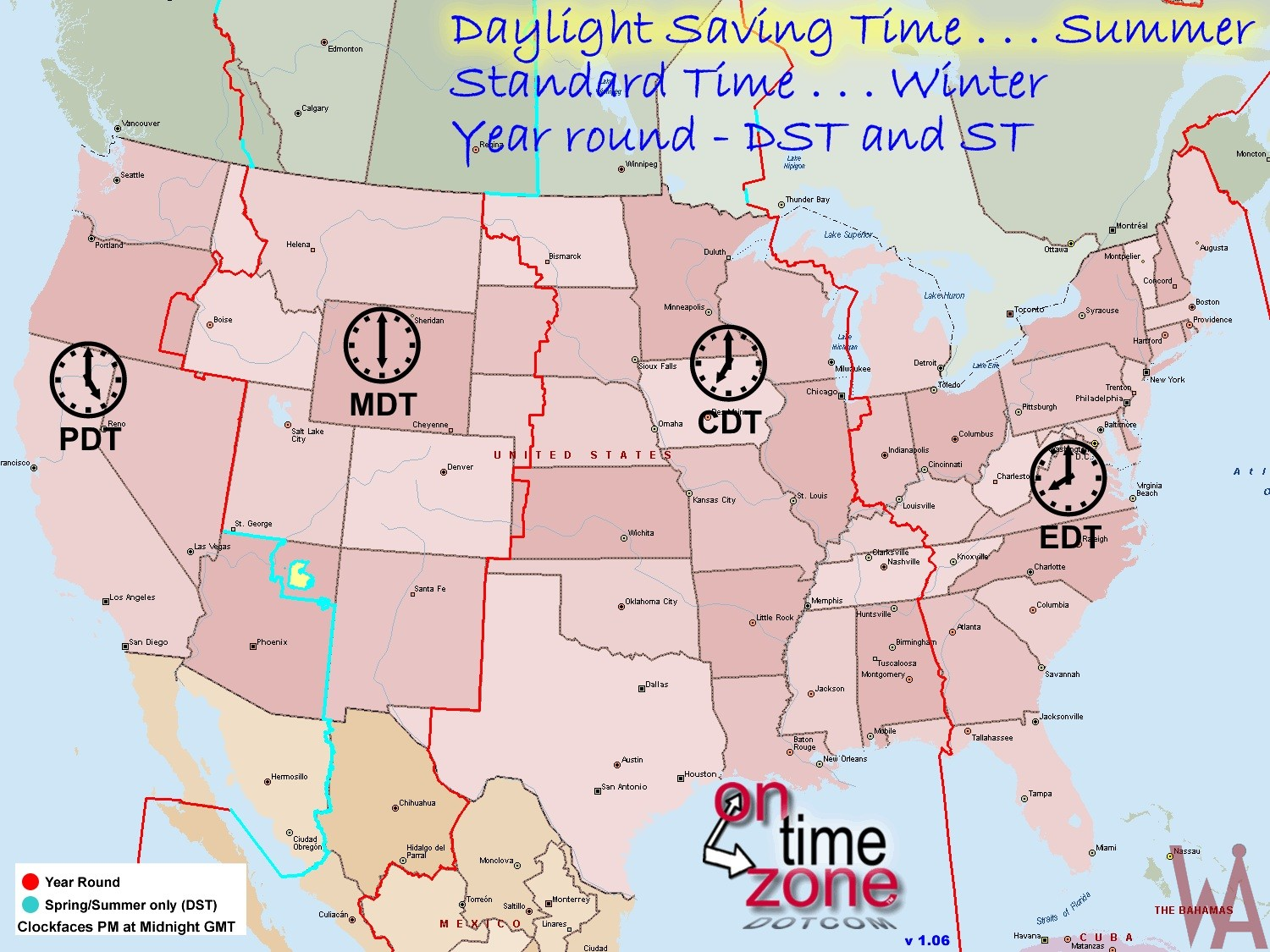 Us Time Zones Map Dst DST Time Zone Map Of The USA | WhatsAnswer