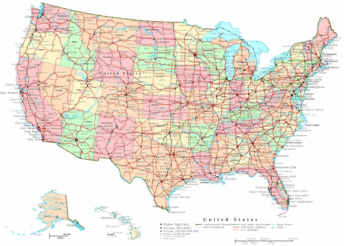 Large States and Cities Map of the USA
