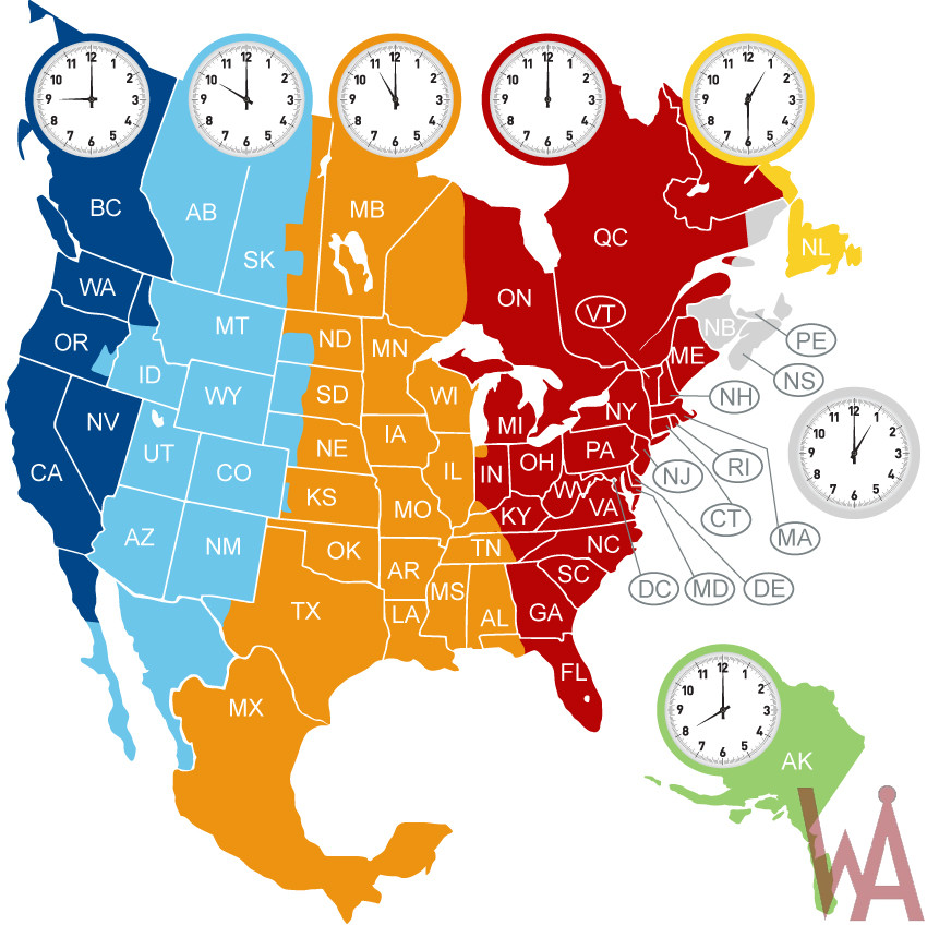 North american map with time zones