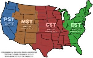 Oil Color Time Zone Map of the USA