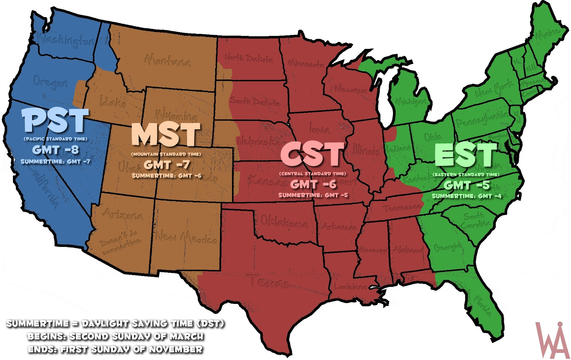 Time Zone Map Usa states Printable color