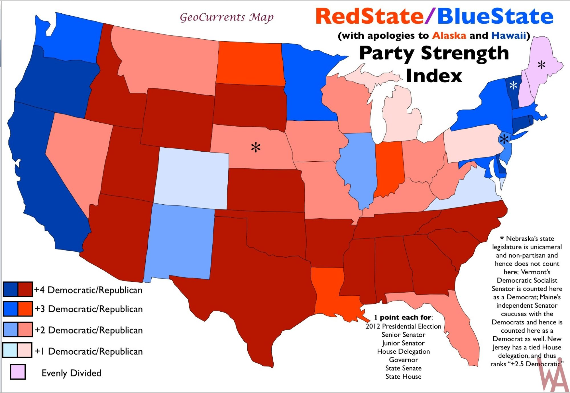 Political Party Map Of The Us Political Party Strength Map of the USA | US Election Map