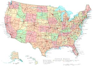 Political map of the US