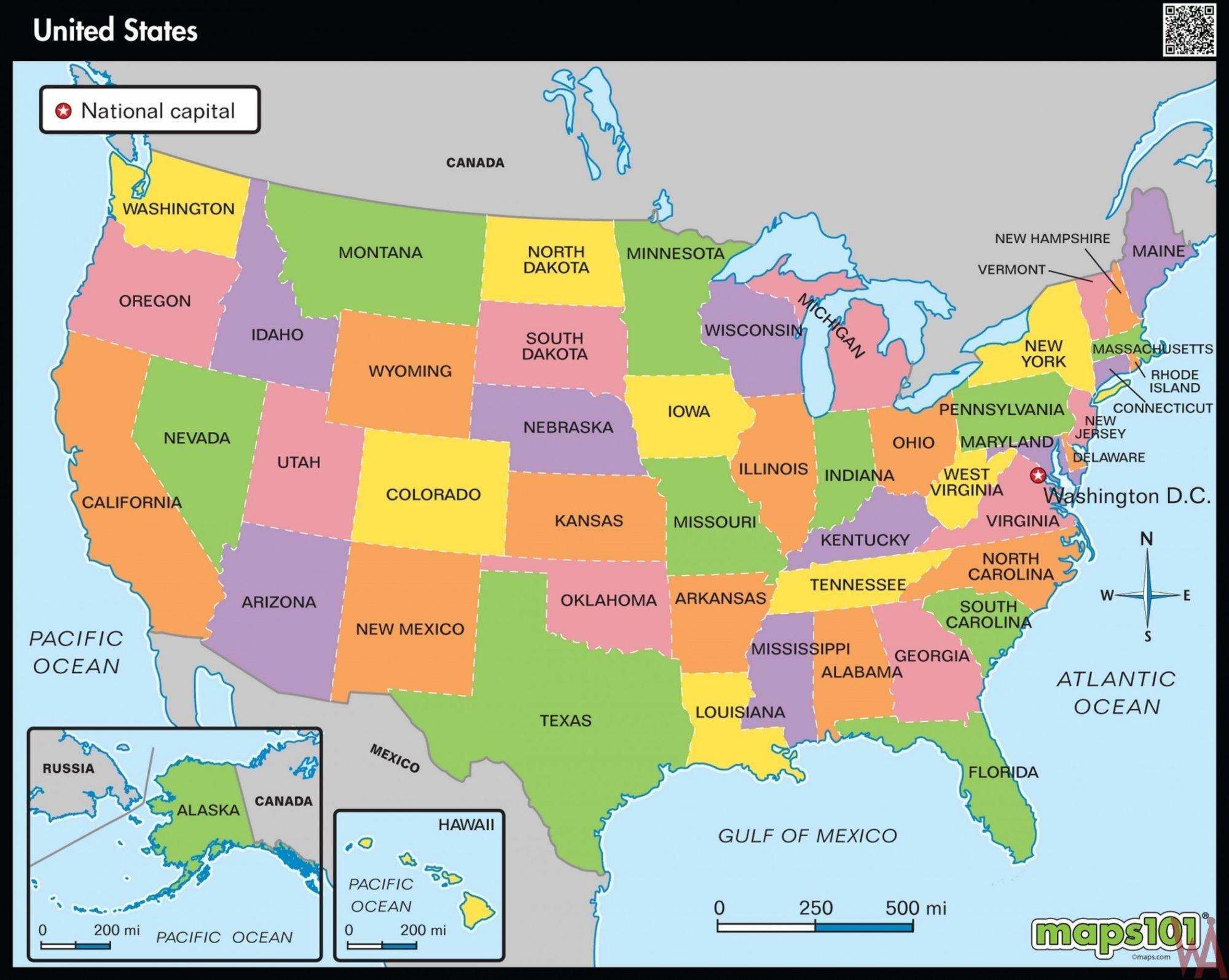 Great Hd Wallpaper Large State Map Of The US WhatsAnswer