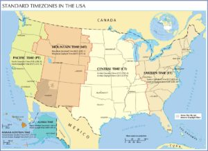 Standard time zone map of The USA