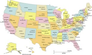 State Capital And major Cities Map Of The USA