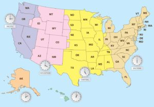 State Wise Time Zone Map of the USA
