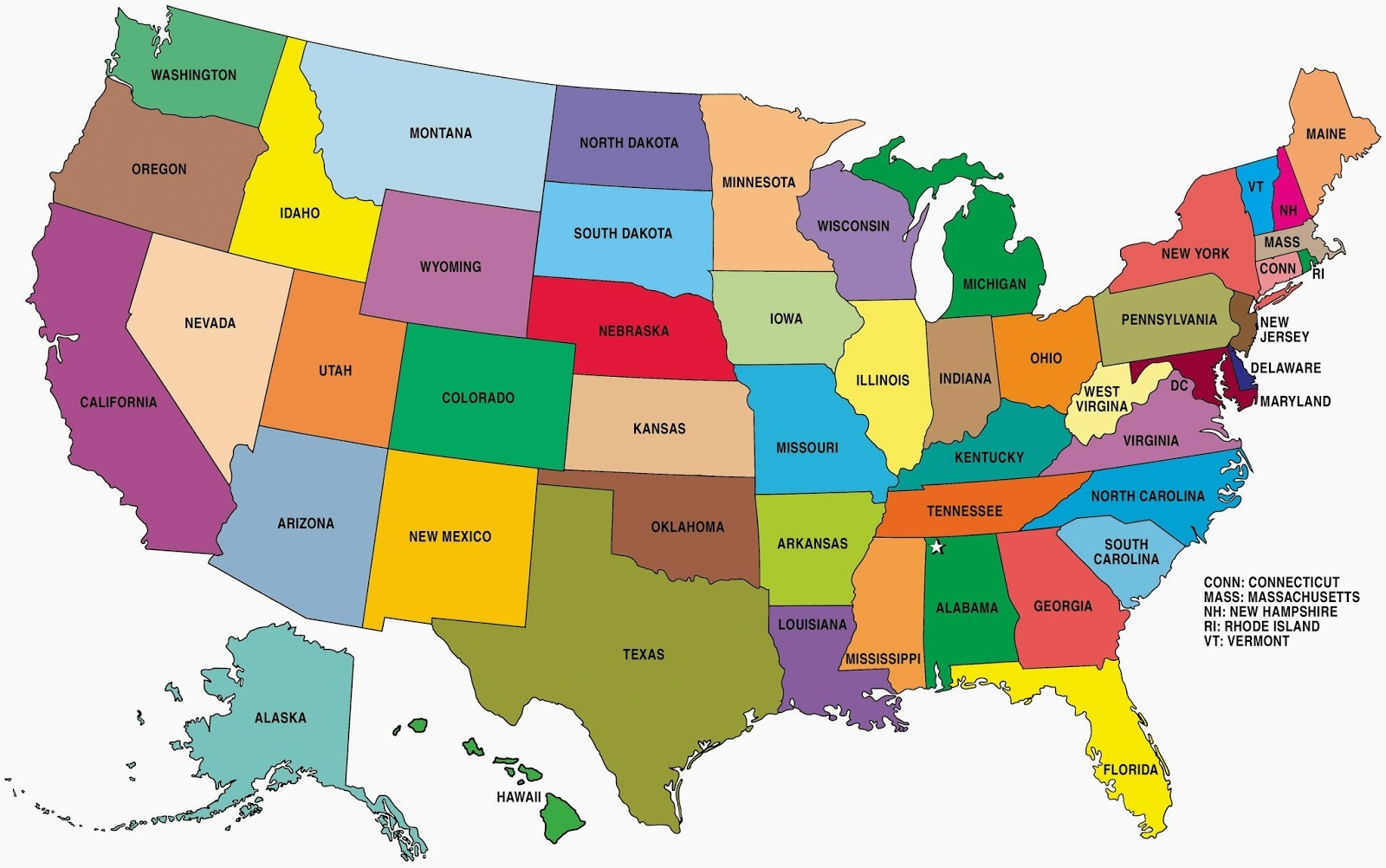 united states map color State Wise Large Color Map Of The Usa Whatsanswer