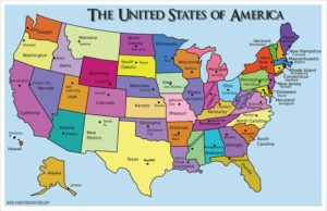 States Map Different Color With States Capital Of The USA