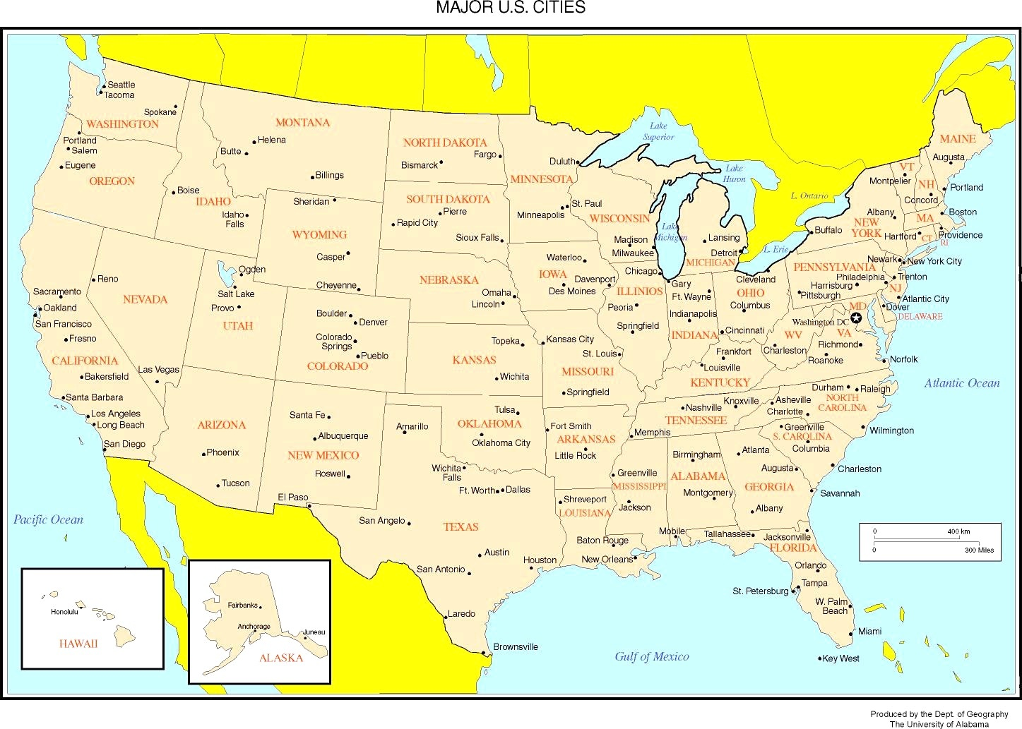 United States Of America Map With Major Cities