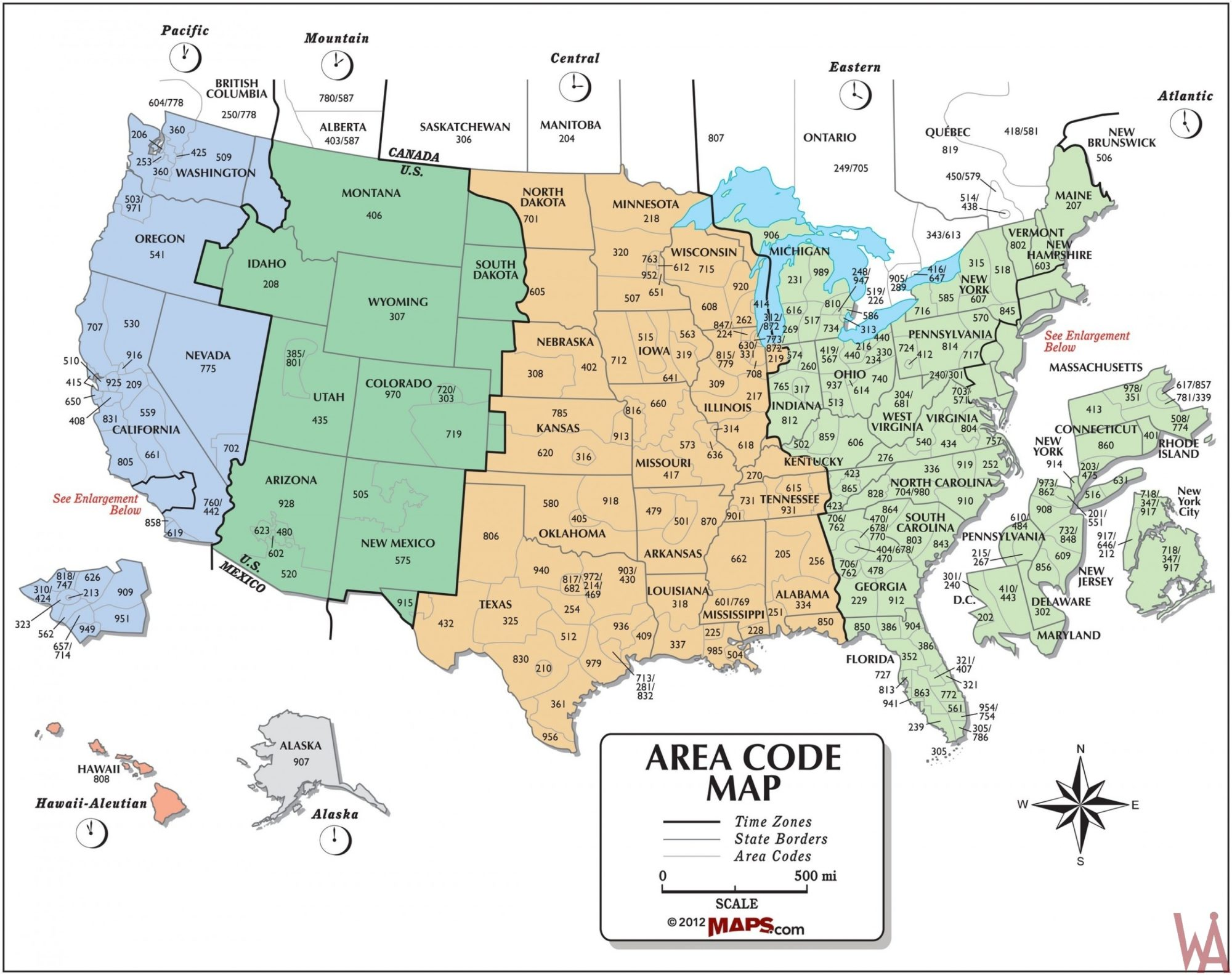 The Map of Time Zone & Area Code of the USA | WhatsAnswer