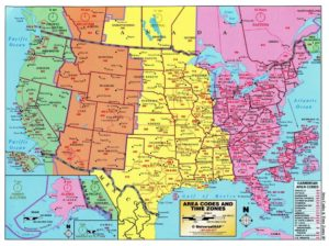The Large Detailed Area Codes of USA   US Time Zone Map