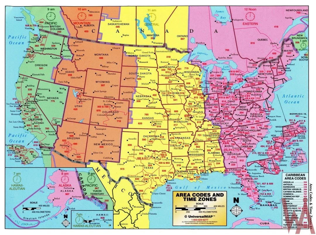 time zones in the united states of america map The Large Detailed Map Of Area Codes And Time Zones Of The Usa