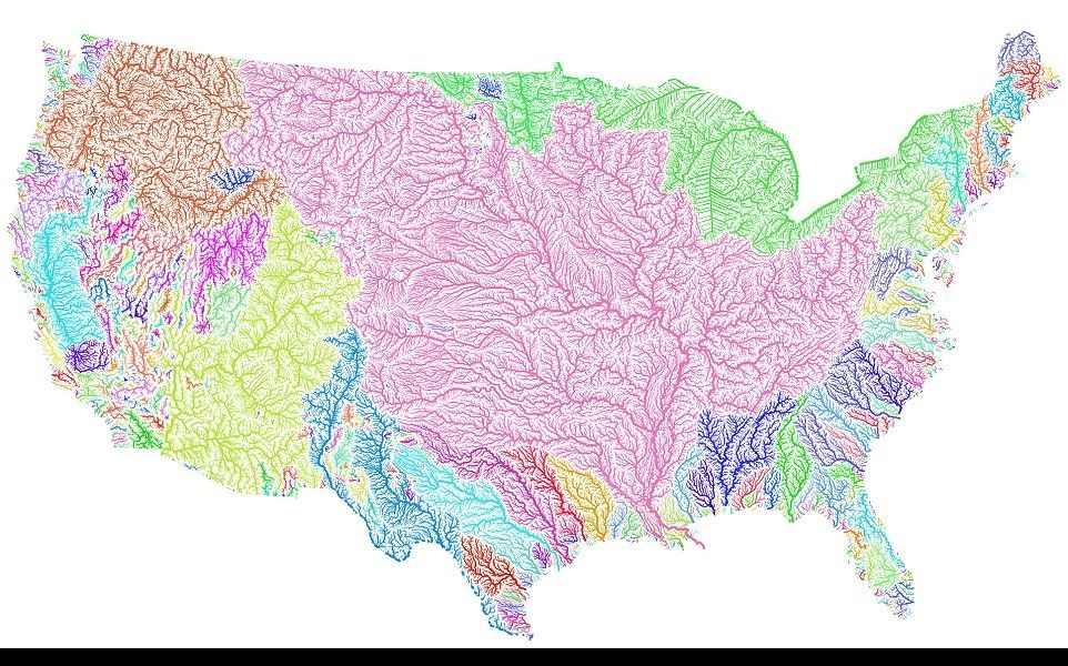 The River Map Of the United States With illustrated  River Basin