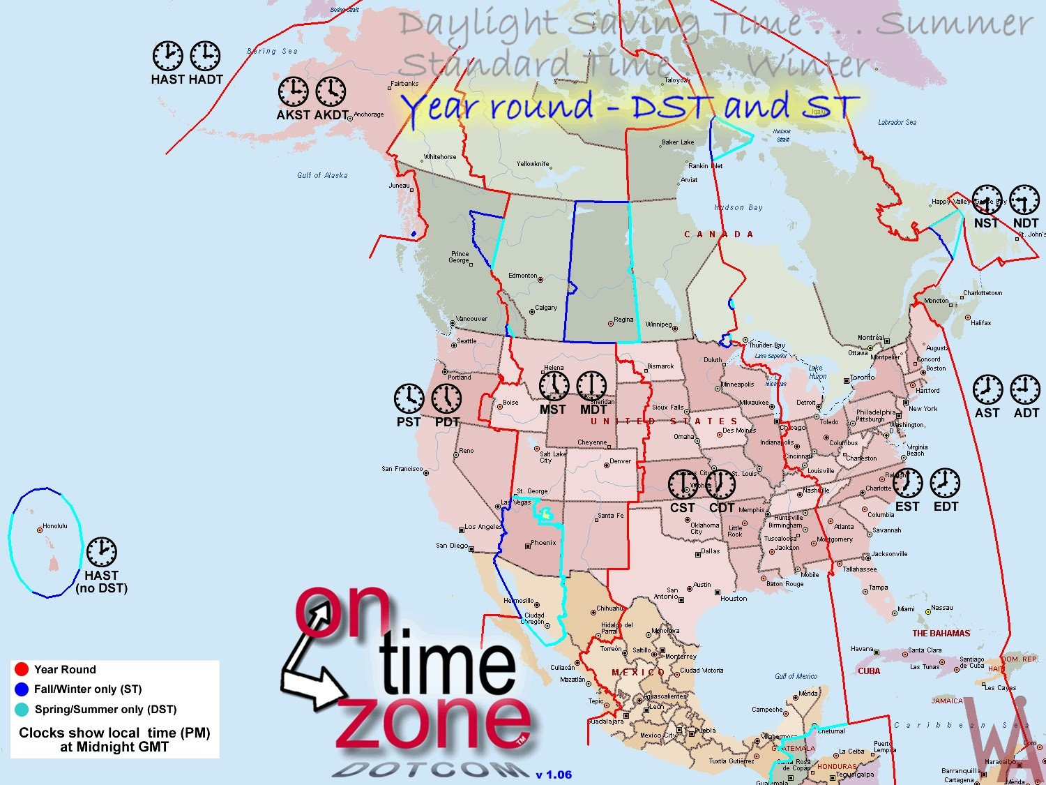 Time zone map of north america with day night savings maps time zone map of north america with day night savings maps gumiabroncs Images