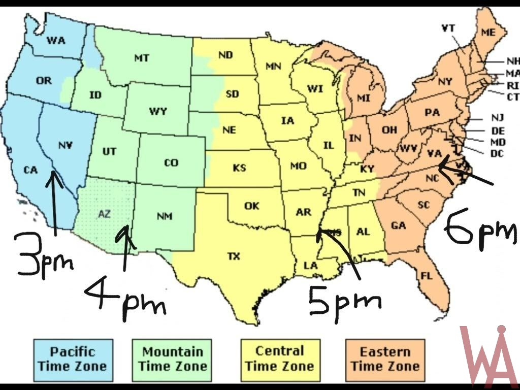 Time Zone usa map With cities Current Time difference