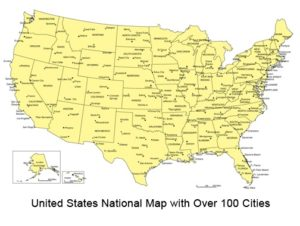 Top 100 Cities Map Of The USA