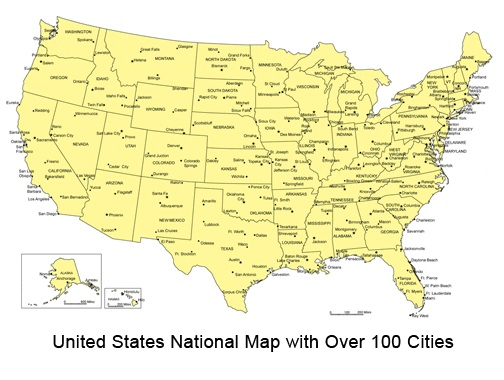 Top 100 Cities Map Of The Usa Whatsanswer