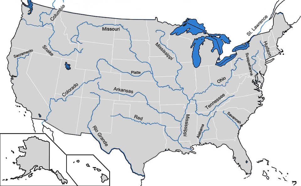 Us Map With Major Rivers US Major Rivers Map | Geography Map of USA | WhatsAnswer