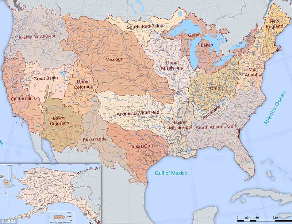 The River map the United States  with 18 major river basins