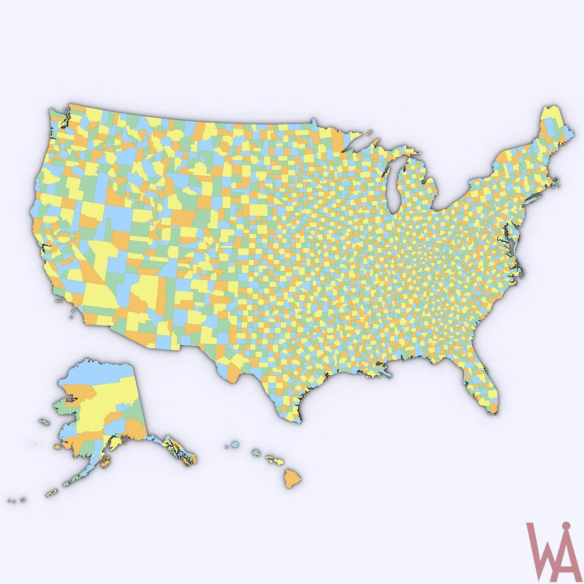 Color 3d political map of USA