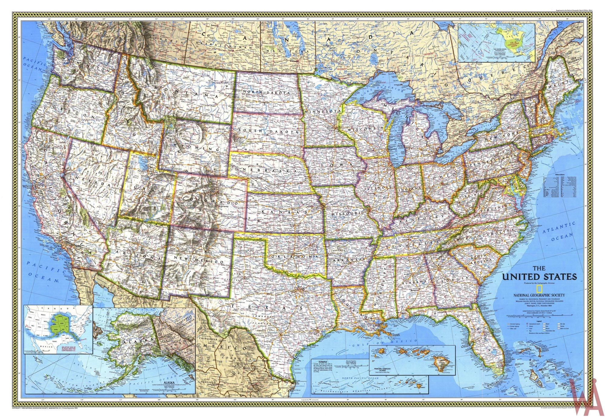 Antique State Map of the USA | Large State Map