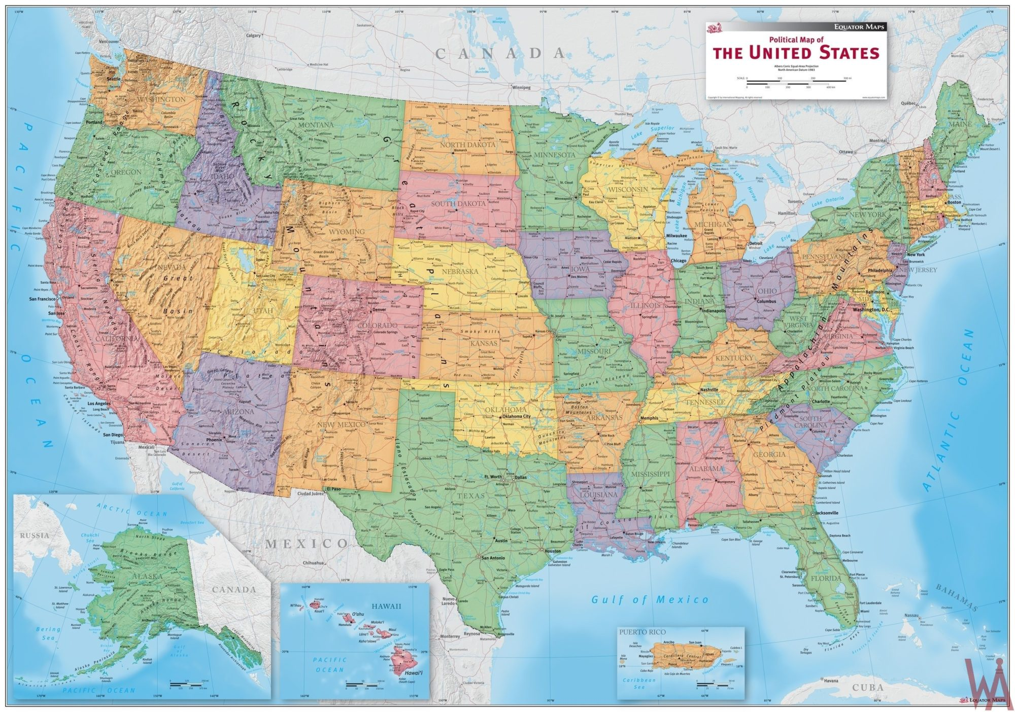 Antique Colored States Map of USA | Large Map