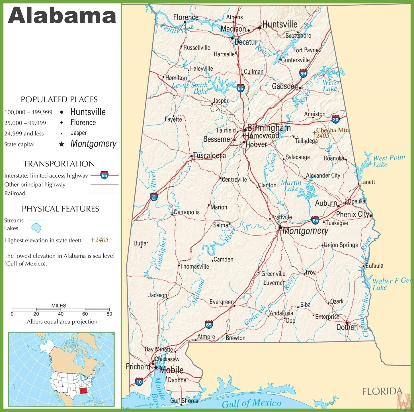 Alabama Highway  Map  | Highway  Map of Alabama