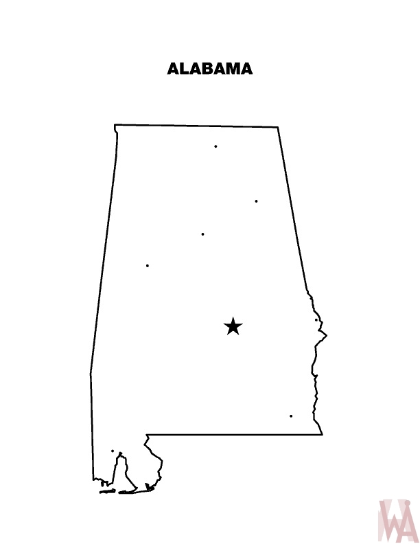 Alabama Outline  Map  | Outline  Map of Alabama
