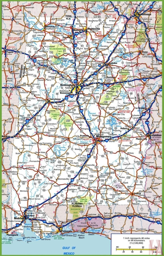 Alabama Road Map Road Map of Alabama High Resolution WhatsAnswer