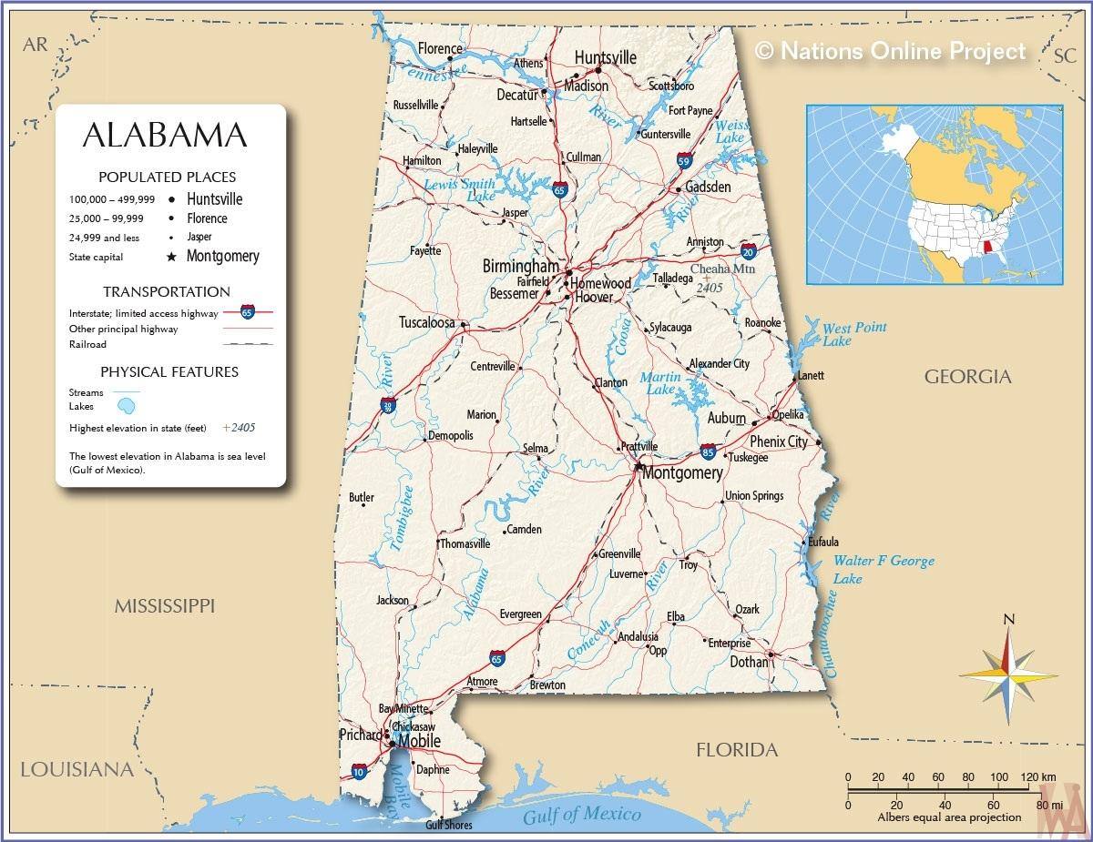 Alabama map National Online Project WhatsAnswer