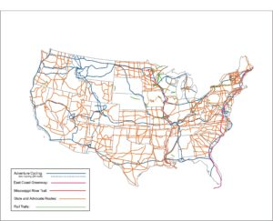 Bike, road, rail, river with all transportation map of USA